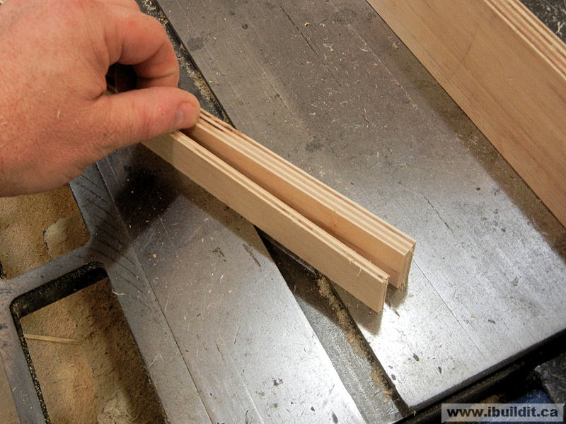 strips of plywood reduced thickness for wooden lock
