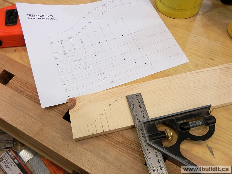 pattern transfer to wood to cut an arc