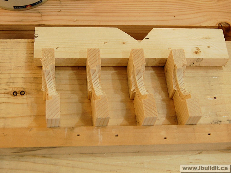 wooden nut pieces glued together