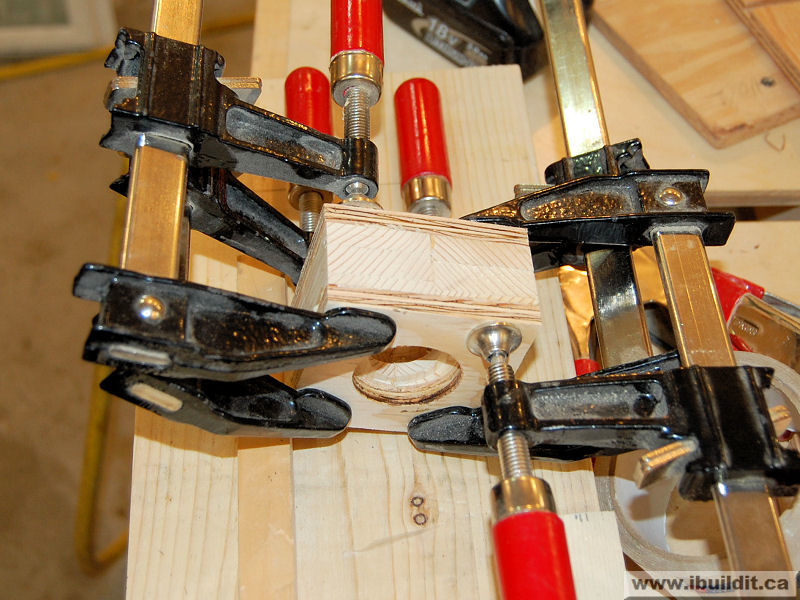 clamps on wooden nut