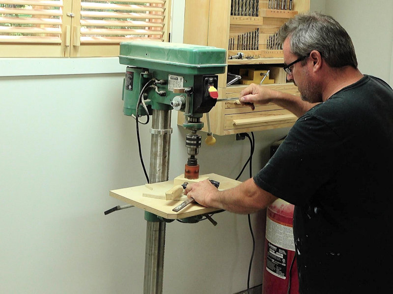 drilling the hole on the drill press