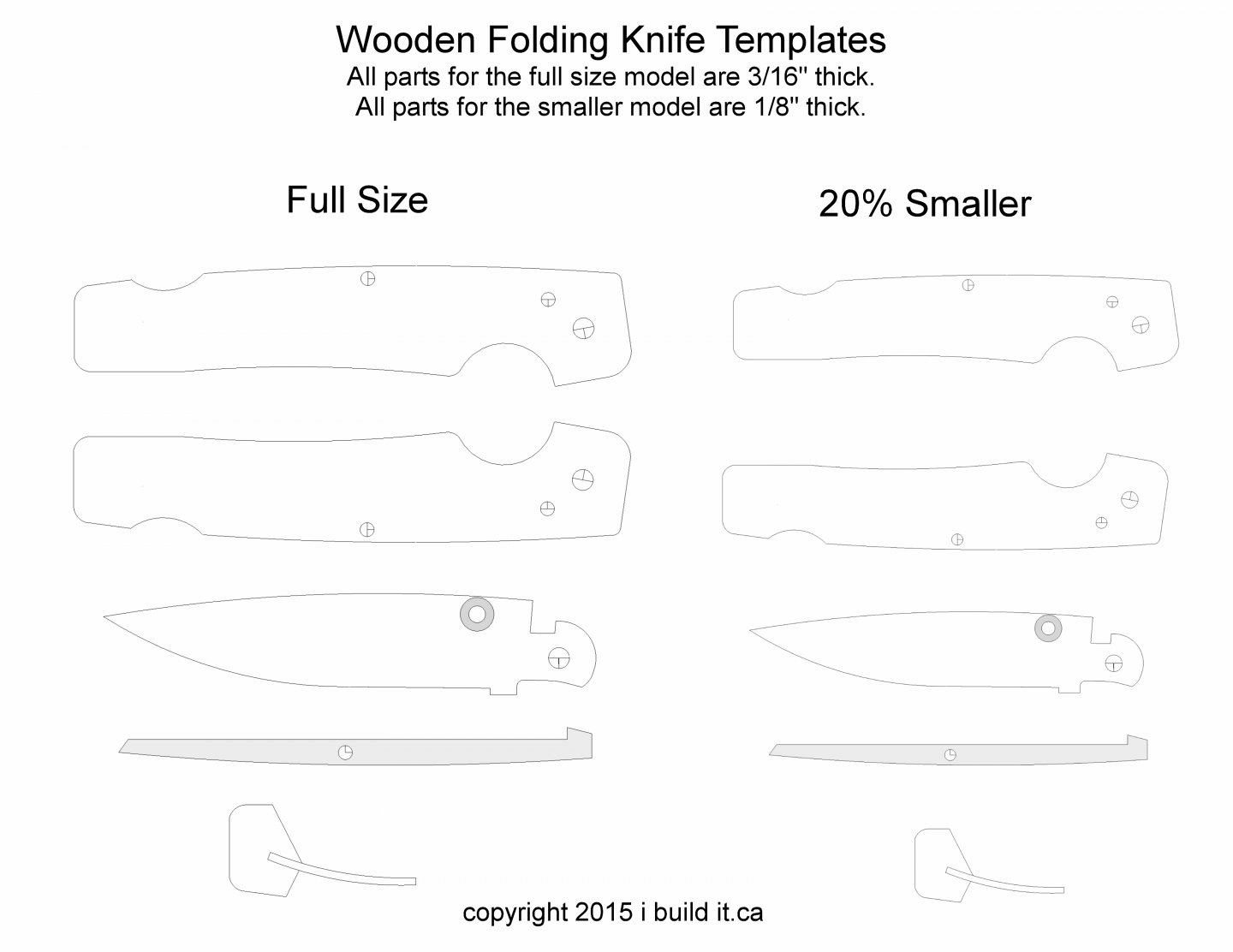 This is a graphic of Printable Knife Templates for pdf