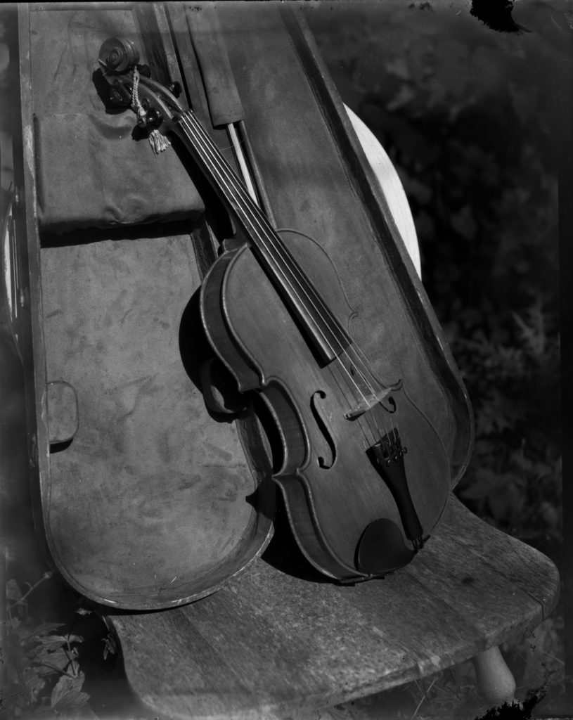 black and white photo of violin